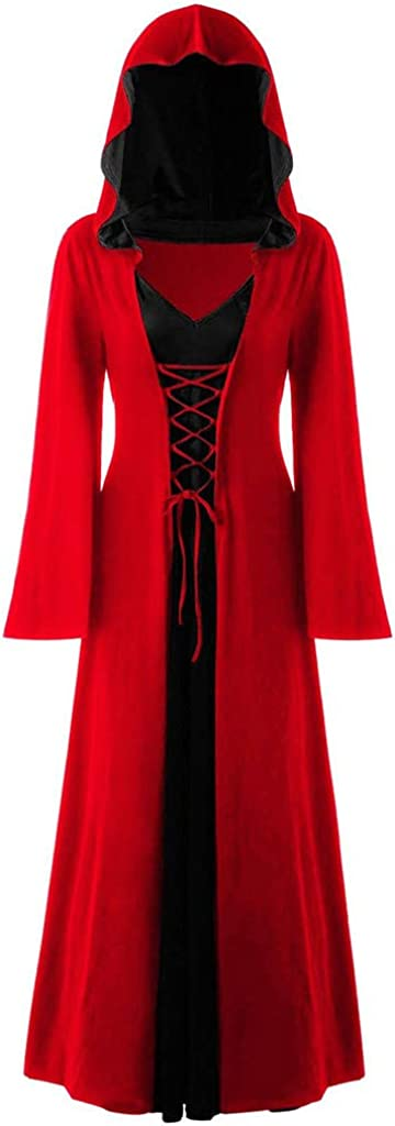 Halloween Hooded Dresses for Women,Personality Plus Size Casual Longsleeve Lace Up Patchwork Long Maxi Novely Dress