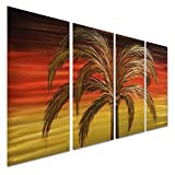 Pure Art Splendor in the Palm Trees Metal Wall Art Hanging Decor - Nautical Large Tropical Beach Artwork - Abstract Handcrafted Sculpture Set of 4 Panels 52'' x 24''