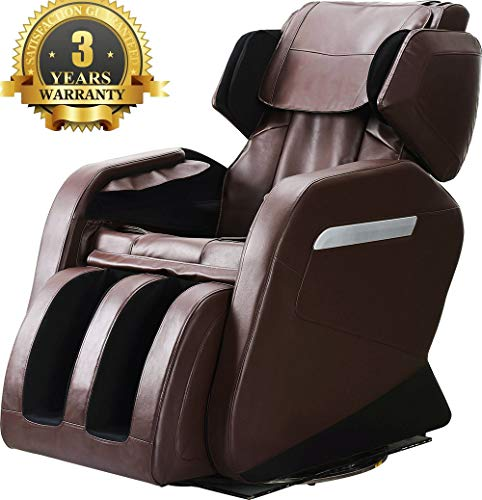 Full Body Massage Chair, Zero Gravity & Air Massage, Foot Roller, Shiatsu Recliner, with Heater, Footroller and Vibrating Brown