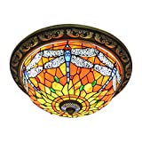 KWOKING Dragonfly Pattern Tiffany Style Flush Mount Ceiling Light with Colorful Glass Shade Decorative Hanging Tiffany Lamps for Corridor - Bedroom Orange and Green - 19.69 inches