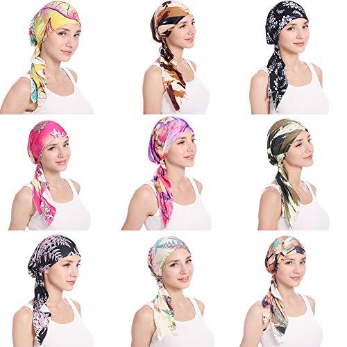 shengyuze Fashion Floral Printed Breathable Women Head Wrap Hat Muslim Hijab Turban Decor - Rose Red by shengyuze (Image #3)