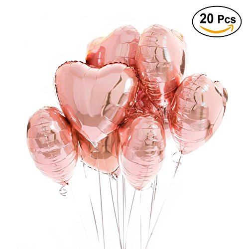 18 inch Rose Gold Heart Balloons Foil Balloons Mylar Balloons for Party Decoration, Pack of 20 -