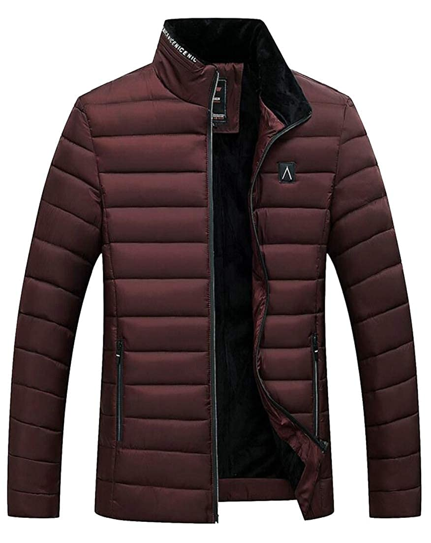 Alion Mens Quilted Fleece Stylish Thicken Outwear Slim Fit Winter Down Jacket Coat