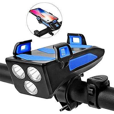 Luz de Bicicleta Función 4 en 1, lámpara de bocina de Bicicleta con Soporte para teléfono Banco de energía3 Modos de iluminación 5 Sonidos, USB Impermeable Ciclismo Faro Delantero de Bicicleta