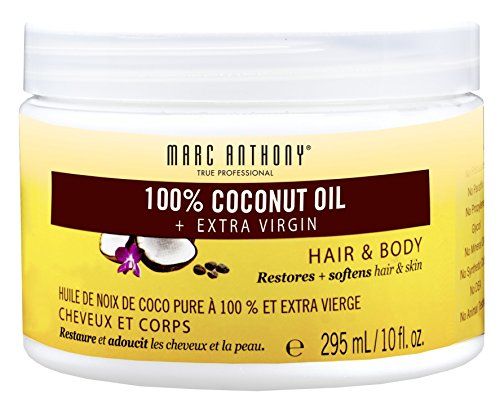 Marc Anthony 100% Hair and Body Coconut Oil + Extra Virgin 10 Ounce Jar (295ml) (3 Pack)