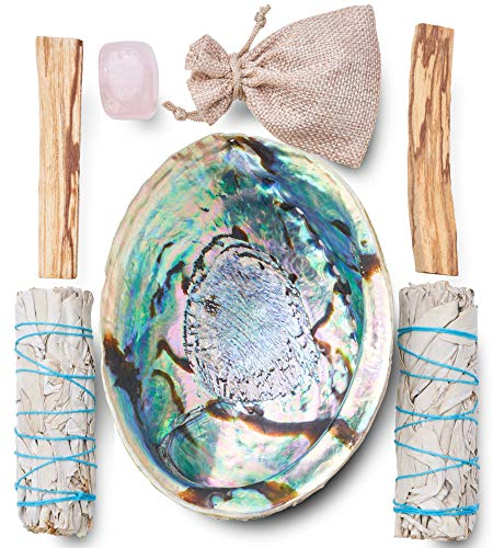 JL Local Perfect Unity Smudging Kit - 2 White Sage Smudge Sticks + 2 Palo Santo Sticks + Abalone Shell Bowl + Rose Quartz Crystal | Healing Incense for Cleansing