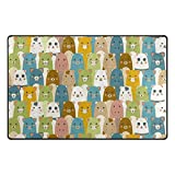 U LIFE Cute Cartoon Animal Cat Dog Bear Large Doormats Area Rug Runner Floor Mat Carpet for Entrance Way Living Room Bedroom Kitchen Office 72 x 48 Inch