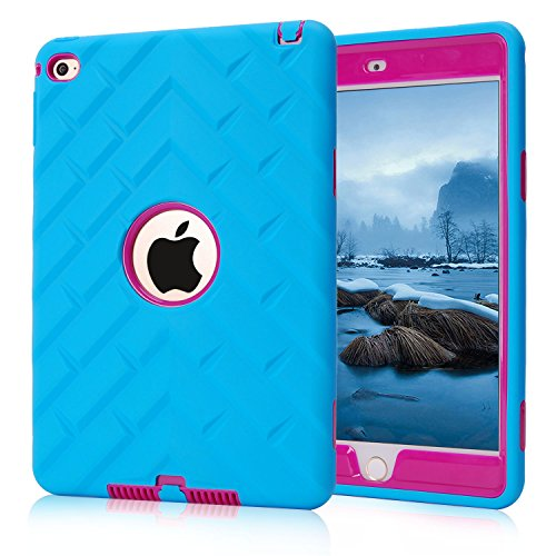 iPad mini 4 Case, iPad mini 4 Retina Case, Easytop Tyre Pattern Anti-slip Shock-absorption Silicone Inner Bumper High Impact Resistant Hybrid Three Layer Protective Cover Case (Blue + Hot Pink)