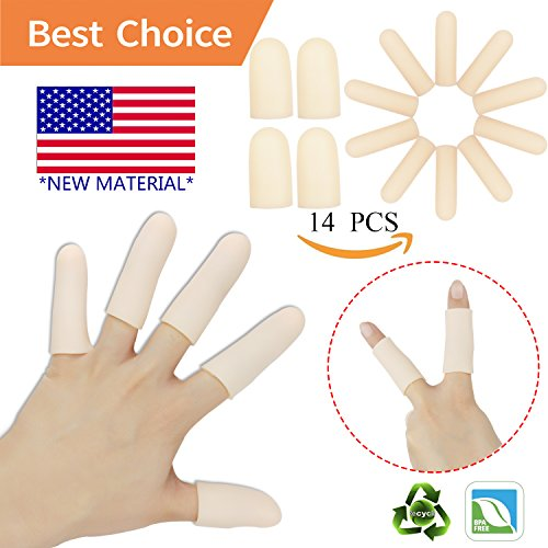 ger Protector Support(14 PCS)NEW MATERIAL Finger Sleeves Great for Trigger Finger, Hand Eczema , Finger Cracking, Finger Arthritis and More.(Nude) (Silicone Skin Glove)