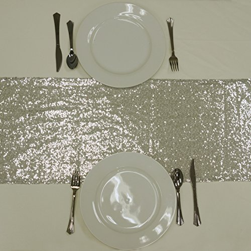 BalsaCircle 12 x 108-Inch Silver Sequined Table Top Runner - Wedding Party Reception Occasions Linens Decorations