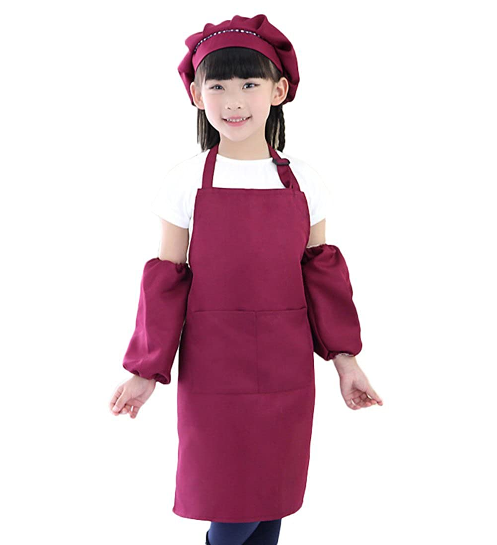Xuxuou Schü rze fü r Kinder Schü rzen Malerei Schü rze mit Taschen Kleidung Haushalt Kunst Werbeschilder Anzü ge EIN Set Schü rze fü r Kinder + Malerei Hut + Ä rmel