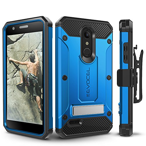 LG K30 / LG Premier Pro/LG Harmony 2 Case, Evocel Heavy Duty Protection with Glass Screen Protector, Rugged Holster, and Kickstand, Explorer Series Pro  Blue