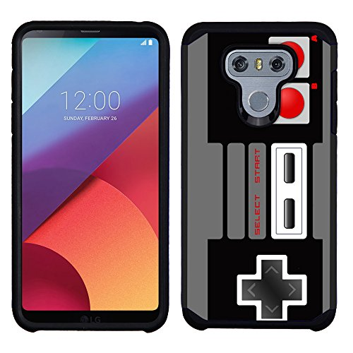One Tough Shield Dual Layer Hubrid Shock Absorbing Phone Case (Black/Black) for LG G6 -Game Controller
