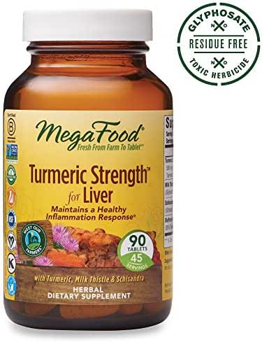 MegaFood, Turmeric Strength for Liver, Maintains a Healthy Inflammation Response, Vitamin and Herbal Dietary Supplement, Gluten Free, Vegan, 90 Tablets (45 Servings) (FFP)