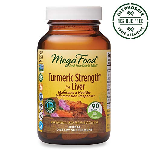 - MegaFood, Turmeric Strength for Liver, Maintains a Healthy Inflammation Response, Vitamin and Herbal Dietary Supplement, Gluten Free, Vegan, 90 Tablets (45 Servings)