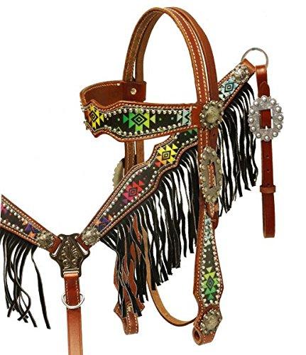 Showman Medium Oil Leather Headstall & Breastcollar set with Navajo Diamond Print Overlay