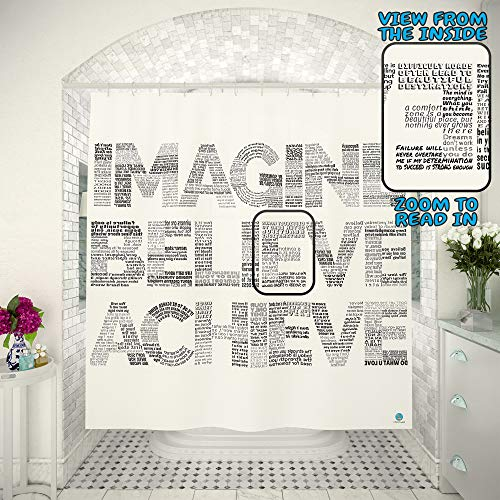 Motivational 2in1 Shower Curtain by TubSail - Read In – 145 Quotes Inspirational Tool Positive Vibes Gym Curtains Bathroom Motivation Black and White Unique Design Fun Word Quote Fitness Set