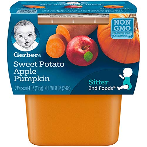 Gerber 2nd Foods Sweet Potato Apple Pumpkin Baby Food, 2 count, 8 oz, (Pack of 8)