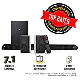 Nakamichi Shockwafe Pro 7.1Ch DTS:X 600W 45-Inch Sound Bar with 8'' Wireless Subwoofer & 2-Way Rear Satellite Speakers