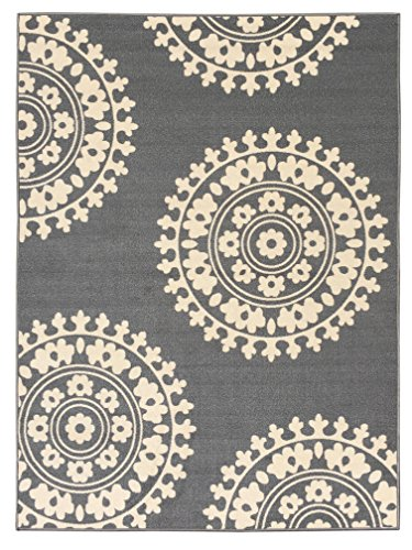 - 5-feet X 7-feet Non-Skid Rubber Backed Area Rug | GREY - IVORY Medallion Modern Rectangle Rugs 5X7