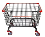 Coin Laundry Cart, CART&SUPPLY [Heavy Duty] [Rolling Cart]6.0 Bushel Large Capacity Laundry Cart with Brake Caster (Charcoal Gray-Red/5'' Brake Lock Caster) Without Pole Rack