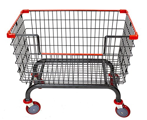 Large Capacity Laundry Cart (Coin Laundry Cart, CART&SUPPLY [Heavy Duty] [Rolling Cart]6.0 Bushel Large Capacity Laundry Cart with Brake Caster (Charcoal Gray-Red/5