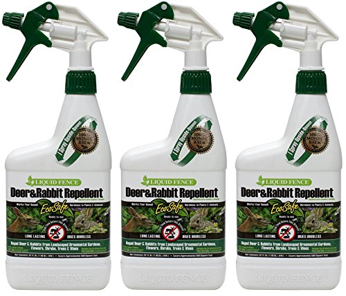 Deer Repellent Powder - (3 Pack) Liquid Fence Deer and Rabbit Repellent, 32-Ounce each