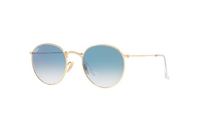 Ray-Ban Lentes redonda plana luz de oro degradado azul 50 gafas de ...