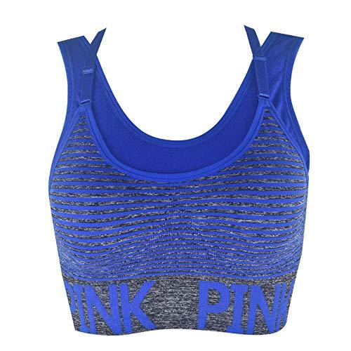 Yukun reggiseno Intimo Sportivo Tracolla Regolabile Reggiseno Sportivo Sport Fitness Yoga Indietro, Blu, Codice L