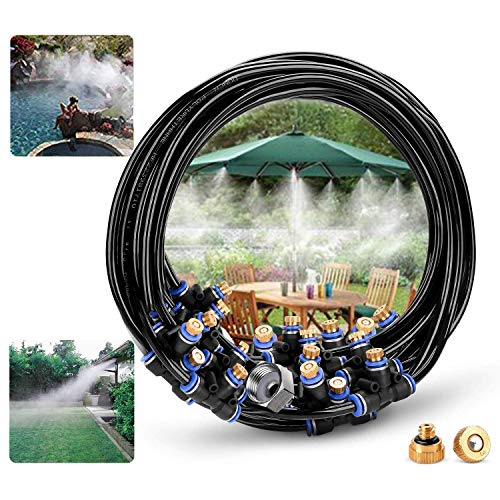 DIY Misting System Misting Cooling System Outdoor Mister,27ft Misters Cooling System Irrigation Sprinkle Misting Line+11 Brass Mist Nozzles+a (3/4) Brass Adapter for Garden Greenhouse Trampoline