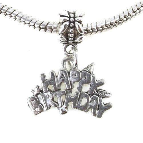 (Antique Gold Plated Pewter Happy Birthday Dangle for Snake Chain Charm Bracelet (Silver Plated base))