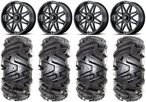 "Bundle - 9 Items: MSA Black Vibe 18"" ATV Wheels 32"" Moto MTC Tires [4x156 Bolt Pattern 12mmx1.5 Lug Kit]"