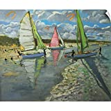 "CANVAS ON DEMAND Andrew Macara Wall Peel Wall Art Print Entitled Three Sailboats, Bray Dunes, France 12""x10"""