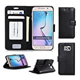 Samsung Galaxy S6 Wallet Case Cover, FYY® [Executive Wallet Kickstand] Premium Leather Flip Case Stand Cover with Card Slots and Note Holder for Samsung Galaxy S6 Black