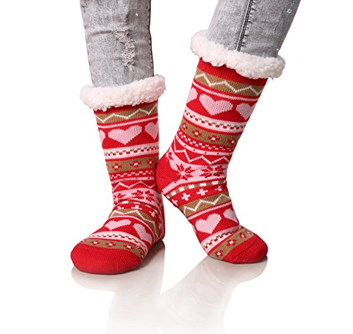Dosoni Women's Snowflake Fleece Lining Knit Christmas Knee Highs Stockings Slipper Socks (Red) Girlfriend Christmas Gift Idea
