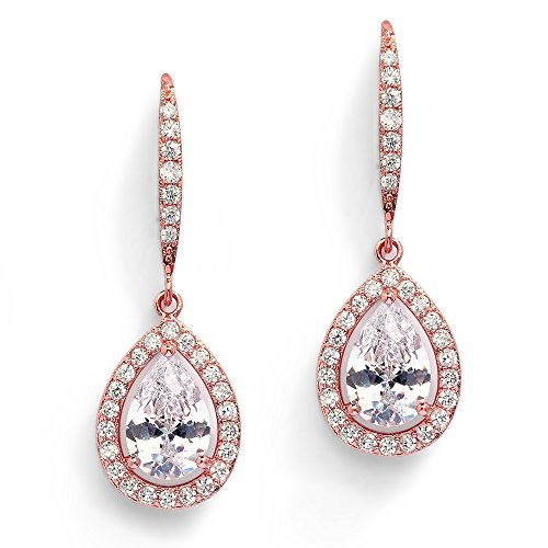 Mariell Pear-Shaped CZ Bridal Wedding Teardrop Earrings - Real 14k Rose Gold Plated Jewelry