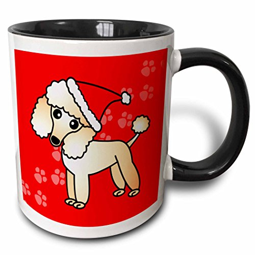 3dRose 13773_4 Cute Apricot Poodle Red Paw Background with Santa Hat-Two Tone Black Mug, 11 oz, Multicolored