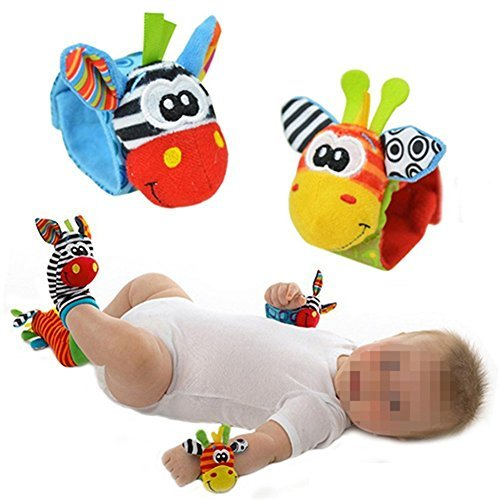 Lovely Infant Baby Foot Socks Rattles Toys