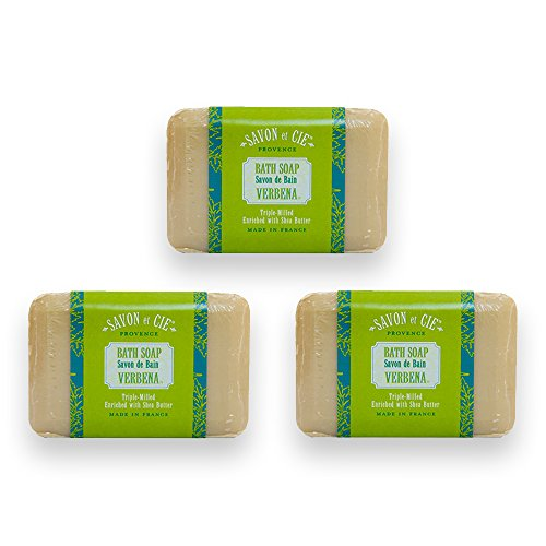 Savon et Cie Triple Milled Soap, Verbena enriched with Organic Shea Butter, 100% Pure Vegetable Based, Natural French Bath Soap, Energizing, Refreshing, Paraben Free 3 x 7 oz (200g) Value - Refreshing Butter Shea Verbena