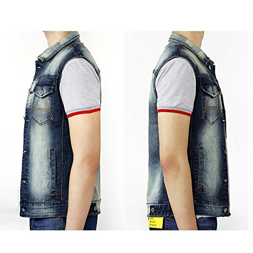 Xinmingyue Mens Casual Slim Fit Vest Sleeveless Lapel Denim Waistcoat Working Gilets
