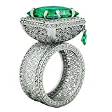 Slendima Luxury Square Rhinestone Hollow Engagement Wedding Bridal Ring Anniversary Banquet Jewelry Present Green US 7