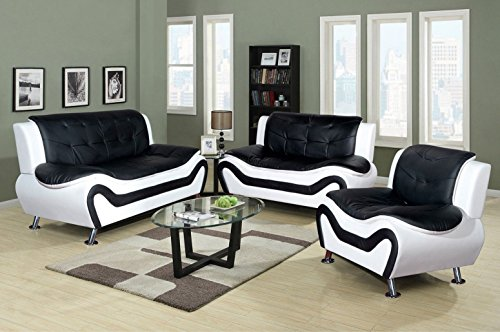 Modern Black Loveseat Leather (Home Garden Collections 3 Piece Faux Leather Contemporary Living Room Sofa, Love Seat, Chair Set, Black/White Product SKU: HF3001LS3)