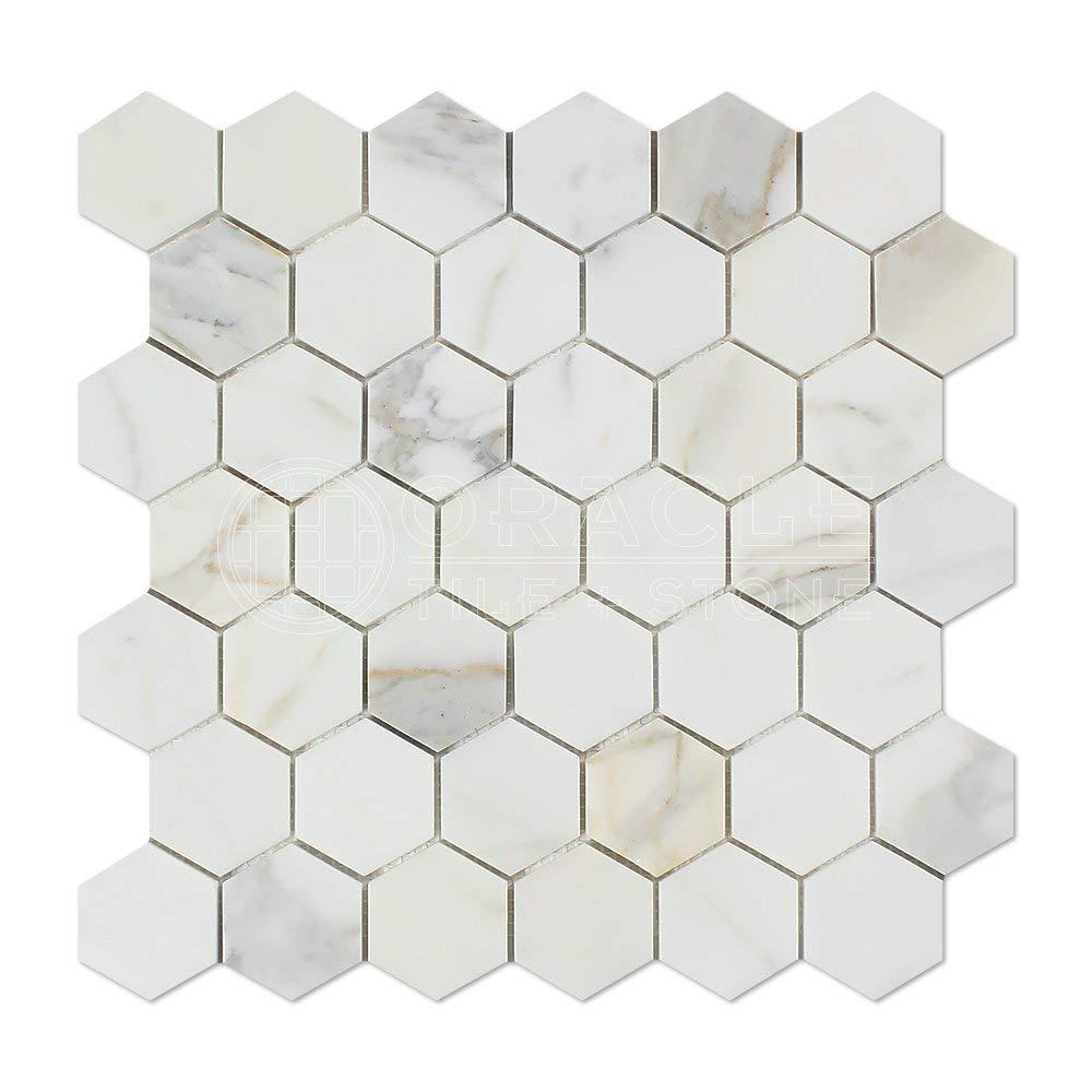Italian Calacatta Gold Marble HONED 2'' Hexagon Mosaic Tile -20 Sheets