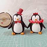 Unique wedding cake toppers Penguins - bride and groom figurines personalized elegant animal wedding gift