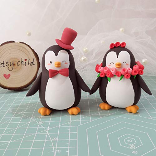 Unique wedding cake toppers Penguins - bride and groom figurines personalized elegant animal wedding gift by Betsy Child