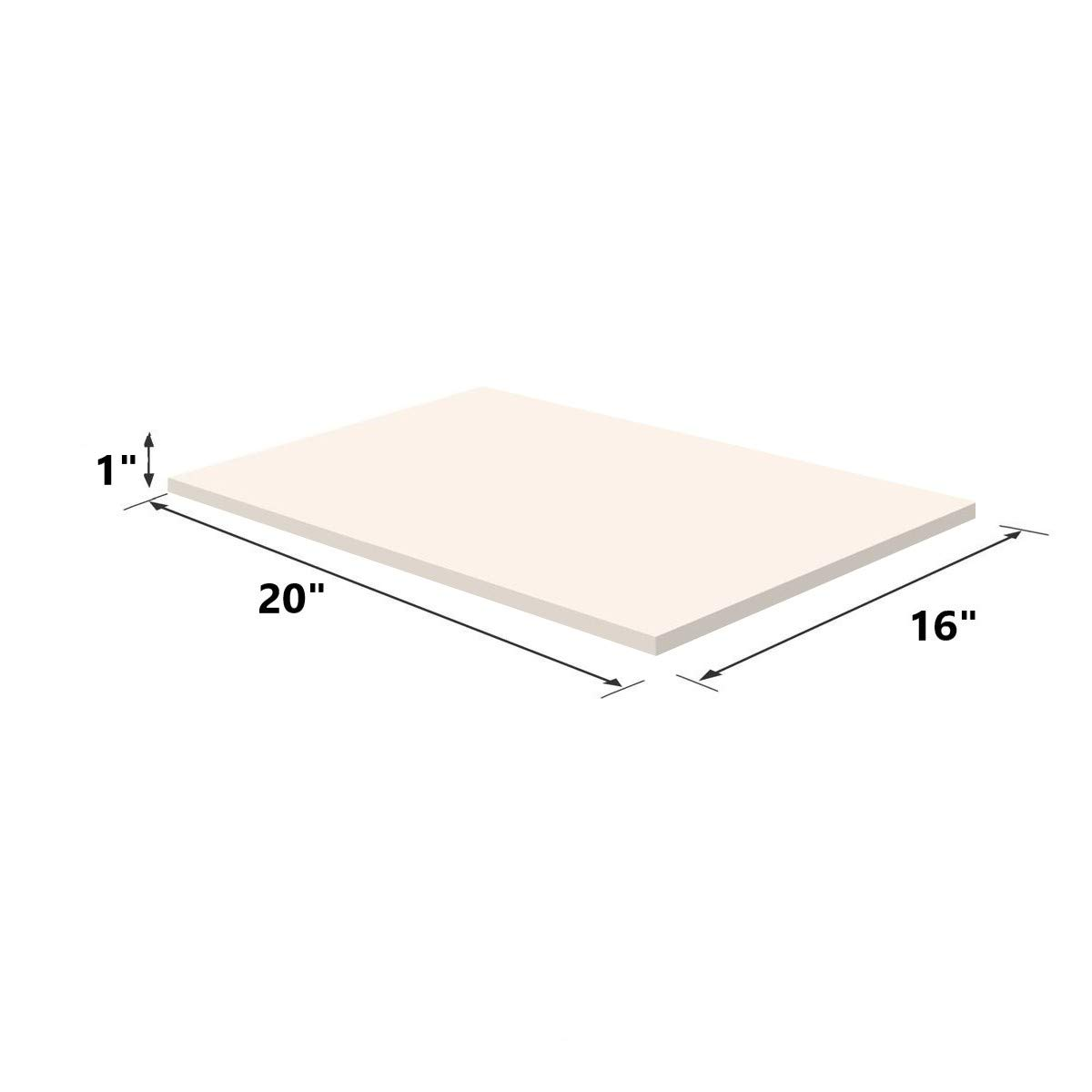 Upholstery Visco Memory Foam Sheet- 3.5 lb High Density 1''x20''x16''- Luxury Quality for Sofa, Chair Cushions, Pillows, Doctor Recommended for Backache & Bed Sores by Dream Solutions USA by Dream Solutions USA