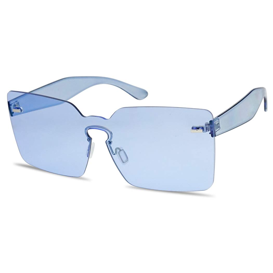 One Piece Rimless Square Colored Transparent Candy Tinted Sunglasses 6 Color Variation (Blue) by SunglassUP
