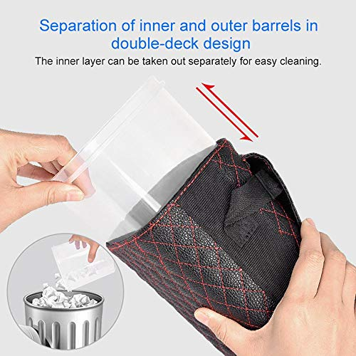 Volwco Car Bin with Lid Hanging Car Trash Organizer Bin Bag with Cover Lid Waterproof Mini Container Leakproof Auto Garbage Rubbish Litter Storage Box