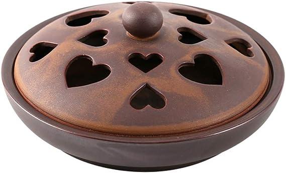 芳香器・アロマバーナー 家庭用アンティーク香炉セラミック板香炉和風モスキートコイルボックスクリエイティブ大皿香炉 アロマバーナー芳香器 (Color : Brown)