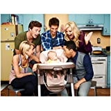 Baby Daddy 8x10 Photo Jean-Luc Bilodeau, Tahj Mowry, Chelsea Kane, Melissa Peterman & Derek Theler w/Baby in Kitchen Pose 2 kn